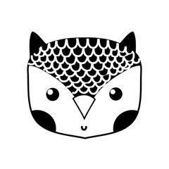silhouette cute owl head wild animal