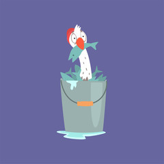 Funny seagull sitting inside of a bucket full of fish, cute comic bird character cartoon vector illustration