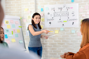 Asian female college student making a presentation in classroom