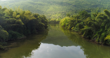 Beautiful natural scenery of river in tropical green forest