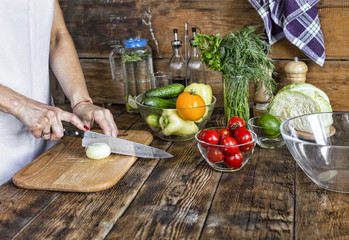 Detox, Vegetable salad, young woman, cooking, fresh vegetables, at home, Chef cook woman, restaurant, kitchen.