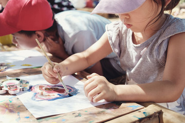 Kids painting art outdoor activity