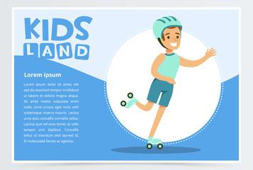 Smiling active boy rollerblading, kids land banner flat vector element for website or mobile app
