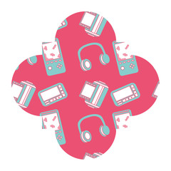 label vintage retro video game and headphones vector illustration pink background