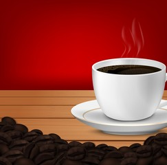 Cup of coffee and coffee beans wooden table background