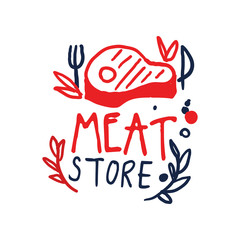 Meat store logo template, vintage label colorful hand drawn vector Illustration