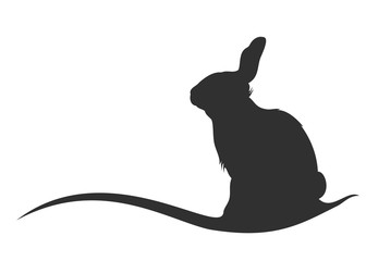 Rabbit. Hand drawn monochrome vector illustration on white background.