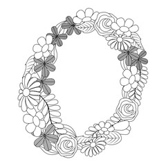 round floral flowers arrangement spring decoration vector illustration