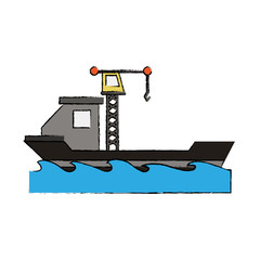 Freighter ship with crane icon vector illustration graphic design