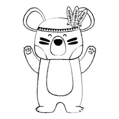 grunge cute bear animal with feathers design
