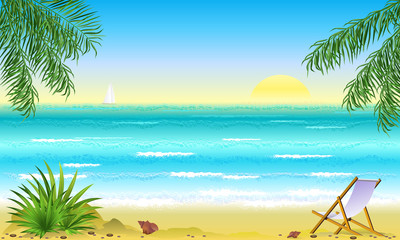Tropical beach with palm trees and lounge chair at sunrise. Hand drawn vector illustration.