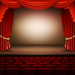Stage with red curtain. EPS 10 vector