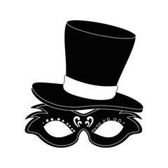 carnival mask with gentleman hat vector illustration design