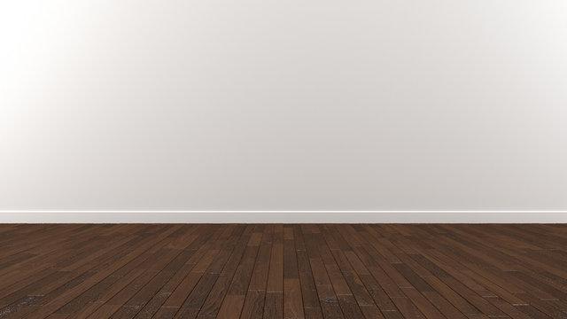 White wall wood dark brown floor 3d Illustration render Background Texture