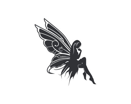 Flying Beautiful Fairy with Wings Illustration Silhouette Symbol Logo Vector