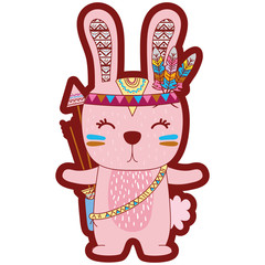 line color cute rabbit animal with feathers and arrows