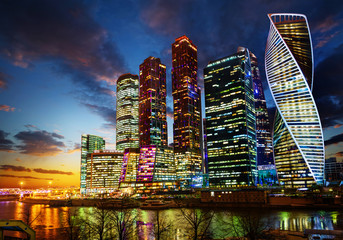 Moscow city (Moscow International Business Centre) at night, Russia.