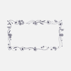 Vector square frame with hand painted vector leaves and flowers. Romantic design elements