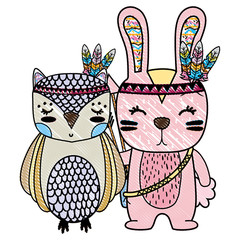 grated owl and rabbit animals with feathers design