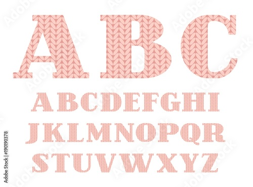 Knitted Font English Alphabet Vector Pink Capital Letters Of The