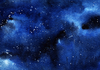 Fototapeta A clastic starry night sky. Clouds, a deep space of black and blue flowers with a spray of white stars. Drawing with watercolor. obraz
