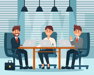 Group of business characters, people in office interior colorful vector illustration