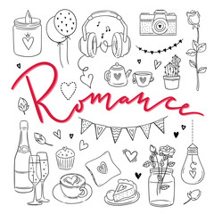 Romance hand drawn illustrations. Love outline symbols vector set for weddings and St. Valentine's Day