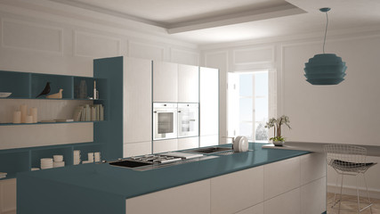 Modern kitchen in classic interior, island with stools and two big window, white and blue navy architecture interior design