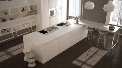 Modern kitchen in classic interior, island with stools and two big window, top view, white and gray architecture interior design