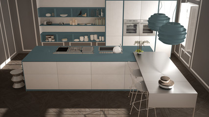 Modern kitchen in classic interior, island with stools and two big window, top view, white and blue navy architecture interior design