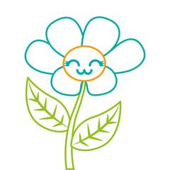 kawaii cute flower ornament cartoon vector illustration color line image