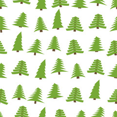 Seamless pattern with spruces on white background. Vector illustration
