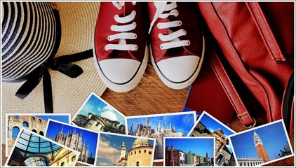 Collage of landmarks, set of travel photos. Suitcase and tourist stuff on wooden background
