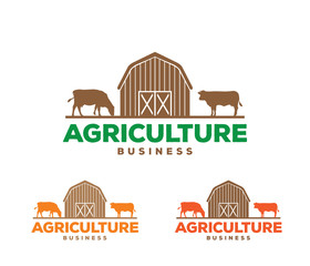 vector logo design illustration of agriculture business, tractor farm, soil farm, crop field,