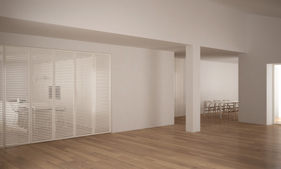 Modern empty space with sliding door and wooden floor, minimalist architecture interior design