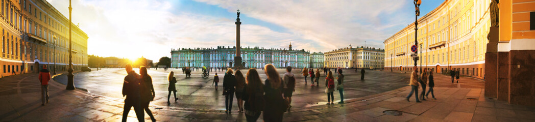 Palace square in Saint Petersburg, Russia during the evening