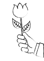 hand holding beautiful flower nature vector illustration sketch image