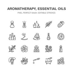 Essential oils aromatherapy vector flat line icons set. Elements - aroma therapy diffuser, oil burner, candles, incense sticks. Linear pictogram editable strokes for spa salon. Pixel perfect 64x64.