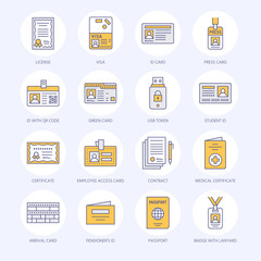 Documents, identity vector flat line icons. ID cards, passport, press access student pass, visa, migration certificate, token, legal contract illustration. Notarial office signs.