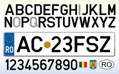 Romania car plate, letters, numbers and symbols