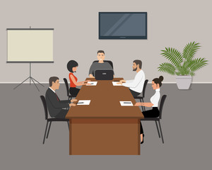 Office workers during the meeting. Young women and men are sitting at the table in the office. Conference hall. On the table is laptop, paper for notes and pencils. There is also a flower here. Vector
