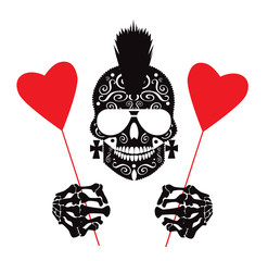 Valentine background with punk skull icon and hearts vector illustration