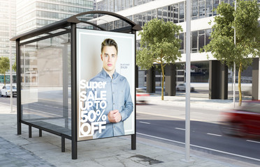 bus stop fashion sale advertising billboard
