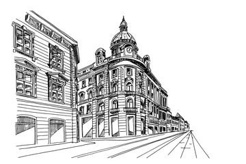 Hand drawn ink line sketch of european street