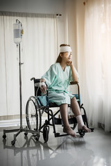 Female patients sitting on wheelchairs have pain after hospitalization.