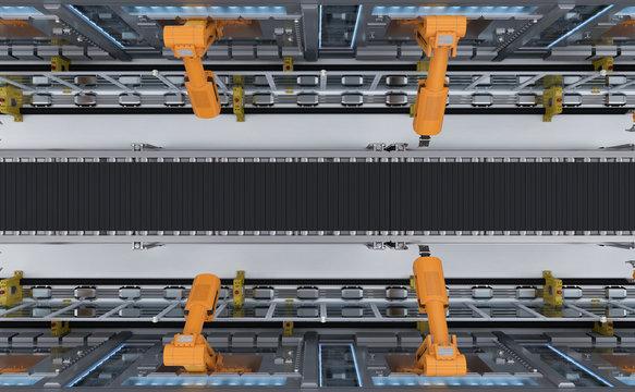 robotic machines with conveyor
