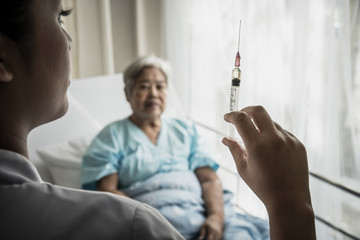 Aged patient being afraid of needle, does not want to take her treatment.