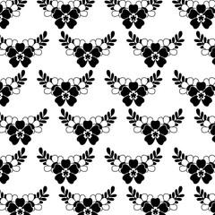 delicate seamless floral pattern flower leaves vector illustration black image white background