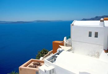 View of the sea in Santorini in Greece