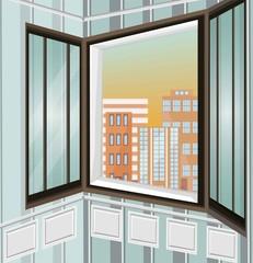 City view through window Vector illustration